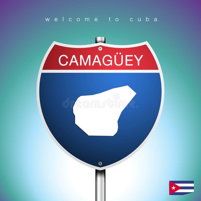 Der Stadtaufkleber und die Karte von Kuba in den amerikanischen Zeichen vektor abbildung