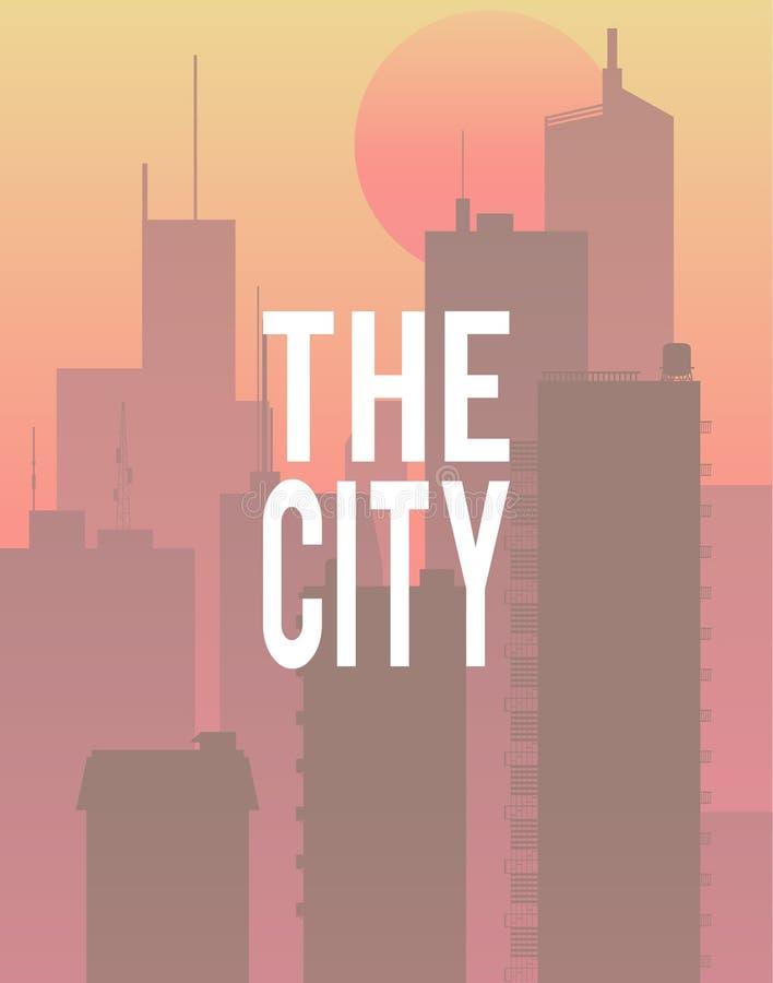 Der Stadtmorgensonnenaufgang in Stadtvektor Konzept vektor abbildung