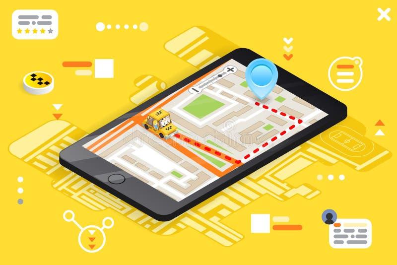 Der Stadtstraßen-Straßenkarte des Taxitelefonanrufs 3d isometrische Platzmarksteinstadtflache Entwurfs-Vektorillustration städtis stock abbildung