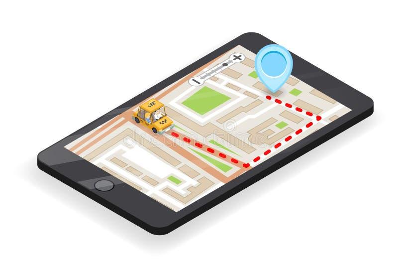 Der Stadtstraßen-Straßenkarte des Taxi Smartphone App-Telefonanrufs 3d isometrische Platzmarksteinstadtflacher Entwurfsvektor stä vektor abbildung