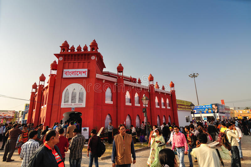 Der Stall Bangladesch-Bücher, Kolkata-Buchmesse - 2014. stockbild