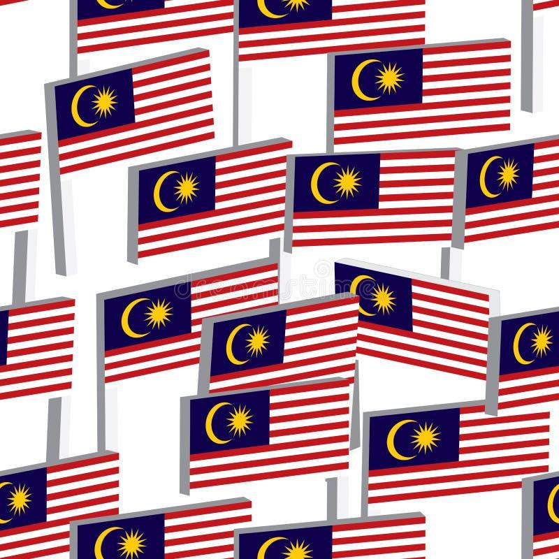 der Stand-Flagge 3d Malaysia nahtloses Muster vektor abbildung