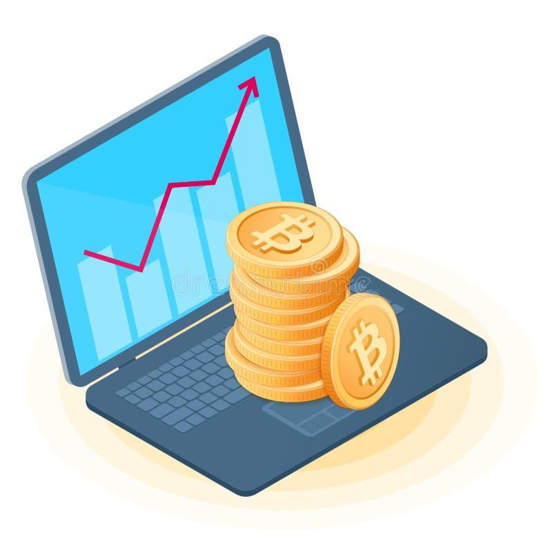 Der Stapel von bitcoins auf dem Bürolaptop, zunehmendes Diagramm auf dem Schirm lizenzfreie abbildung