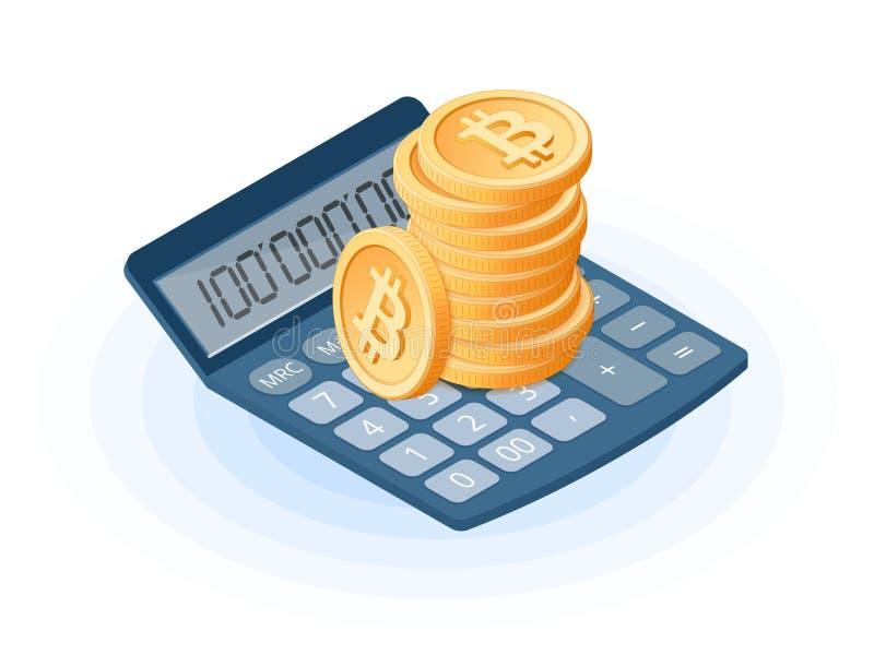 Der Stapel von bitcoins auf dem erklärenden Rechner des Büros vektor abbildung