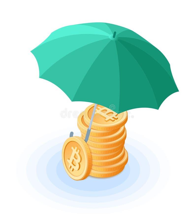 Der Stapel von bitcoins unter dem Regenschirm vektor abbildung