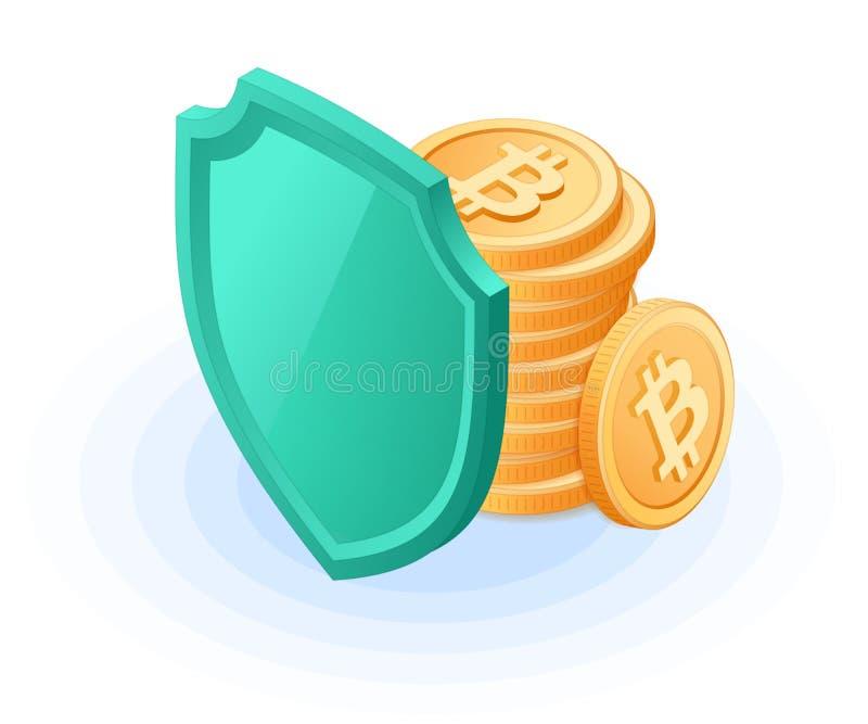 Der Stapel von bitcoins versteckt sich hinter einem Schild vektor abbildung