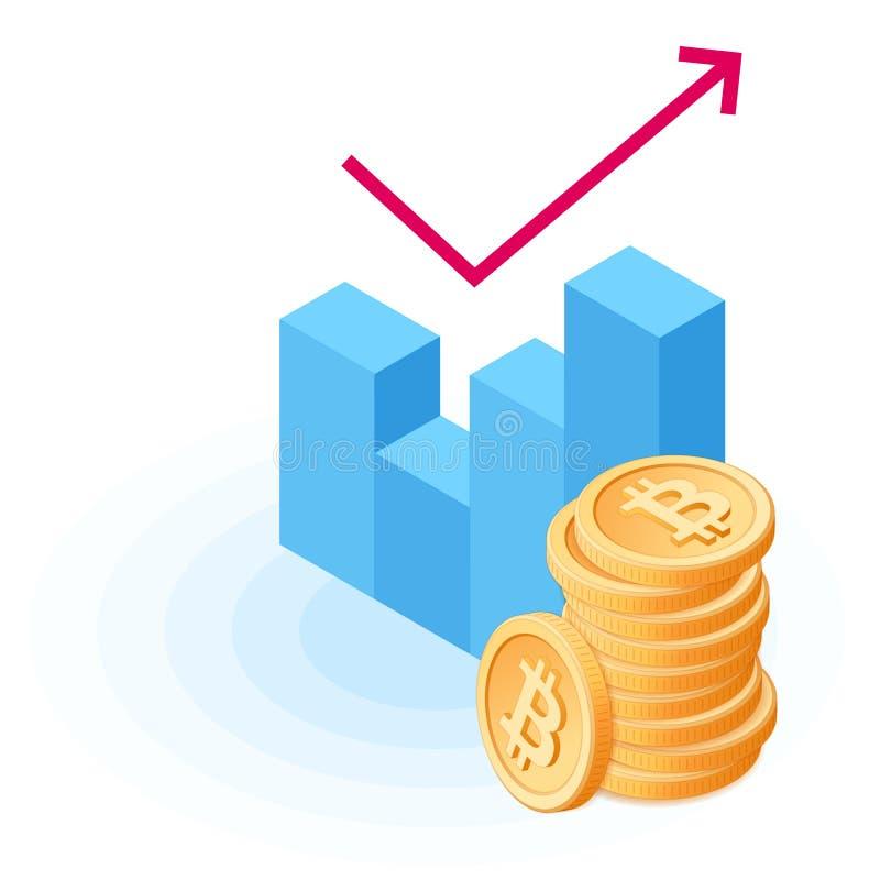 Der Stapel von bitcoins am Wachstumsdiagramm lizenzfreie abbildung