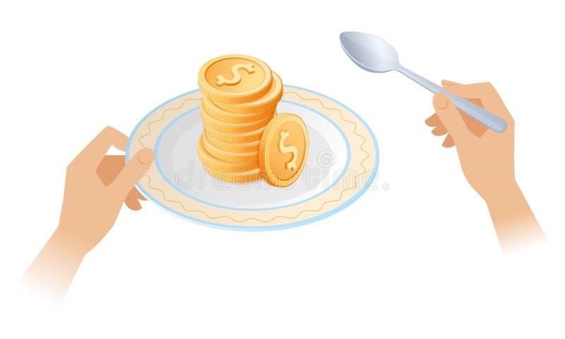 Der Stapel von Münzen auf dem Teller lizenzfreie abbildung