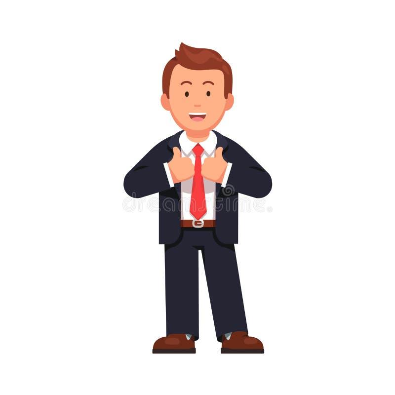 Der stehende Geschäftsmann, der Daumen zeigt, up Geste vektor abbildung