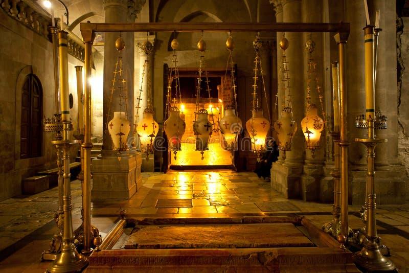 Der Stein Anointing The Stones von Unction in der Kirche von t stockfotos