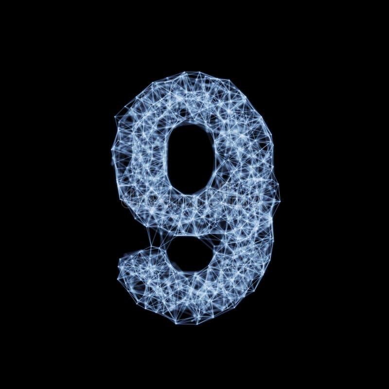 Der Stellenzahl 9 der Linie und des Alphabetes des Punktes glühender heller Guss stock abbildung