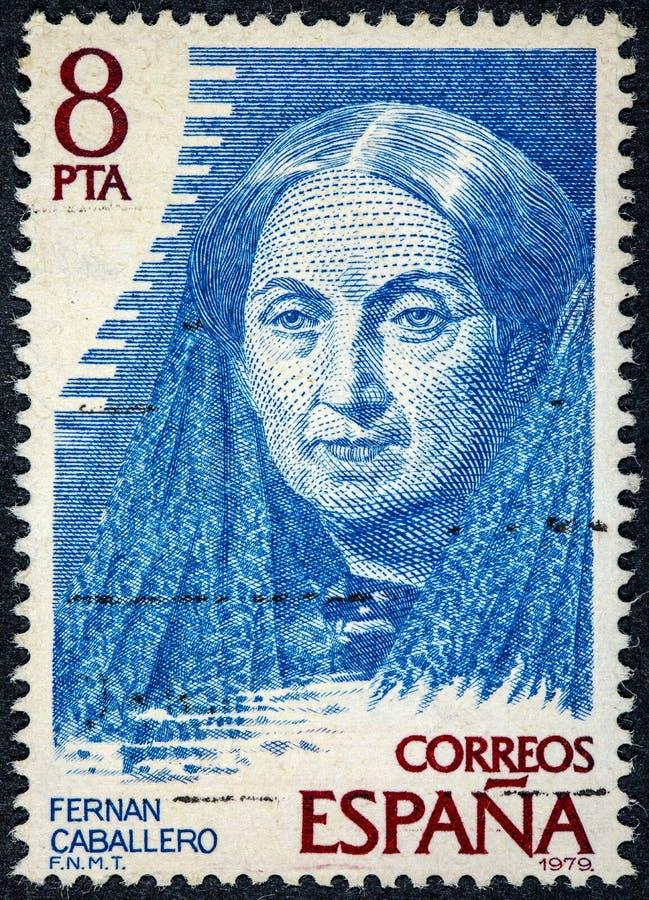 Der Stempel, der durch Spanien Fernan Caballero gedruckt wurde, war das Pseudonym lizenzfreies stockfoto