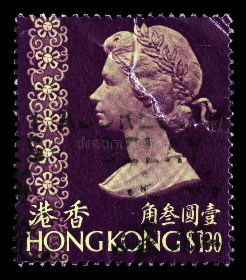 Der Stempel, der in Hong Kong gedruckt wird, zeigt ein Porträt der Königin Elizabeth II lizenzfreie stockfotografie