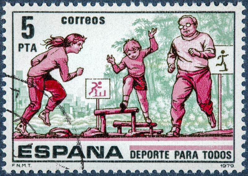Der Stempel, der in Spanien gedruckt wird, zeigt Sport für alle lizenzfreies stockbild