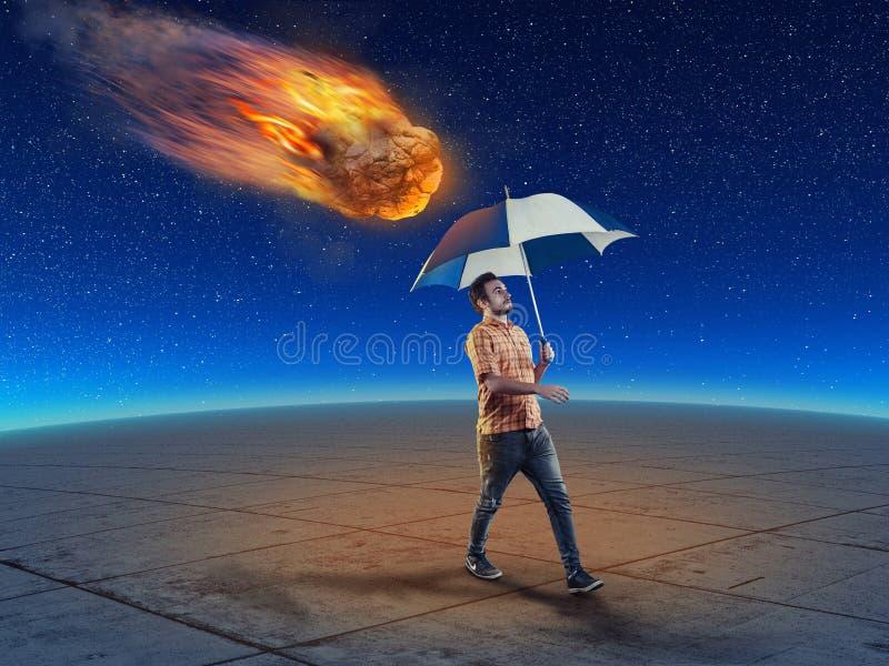 Der sternenklare Himmel Das Konzept des unvorsichtigen Mannes lizenzfreies stockbild