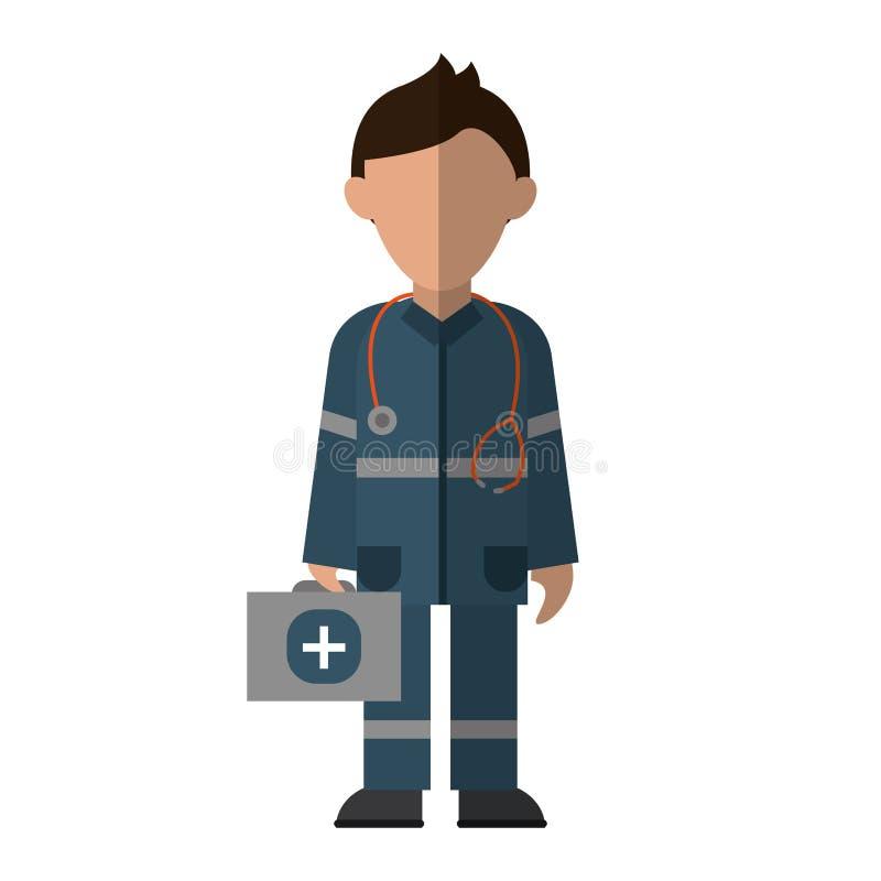 Der Stethoskopausrüstungs-ersten Hilfe des Sanitätercharakters einheitlicher Notfall lizenzfreie abbildung