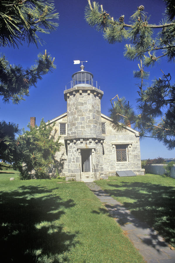 Der Stonington-Leuchtturm und alte das Leuchtturm-Museum, Stonington, Connecticut stockfotografie
