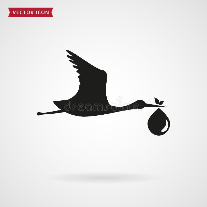 Der Storch holt das Baby Übersetzt Ikone vektor abbildung