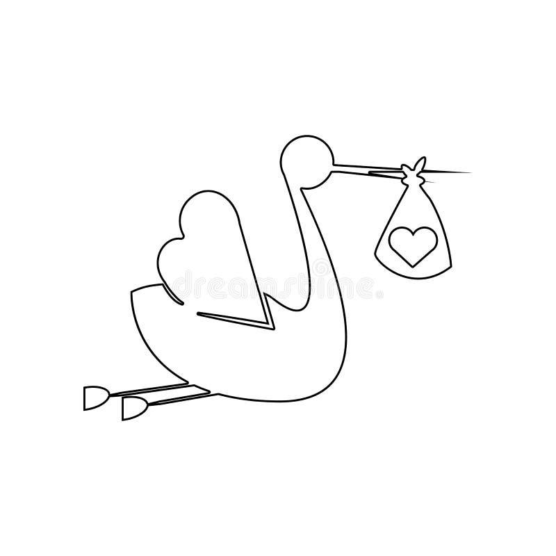 Der Storch holt die Baby Ikone Element des Babys f?r bewegliches Konzept und Netz Appsikone Entwurf, d?nne Linie Ikone f?r Websit stock abbildung