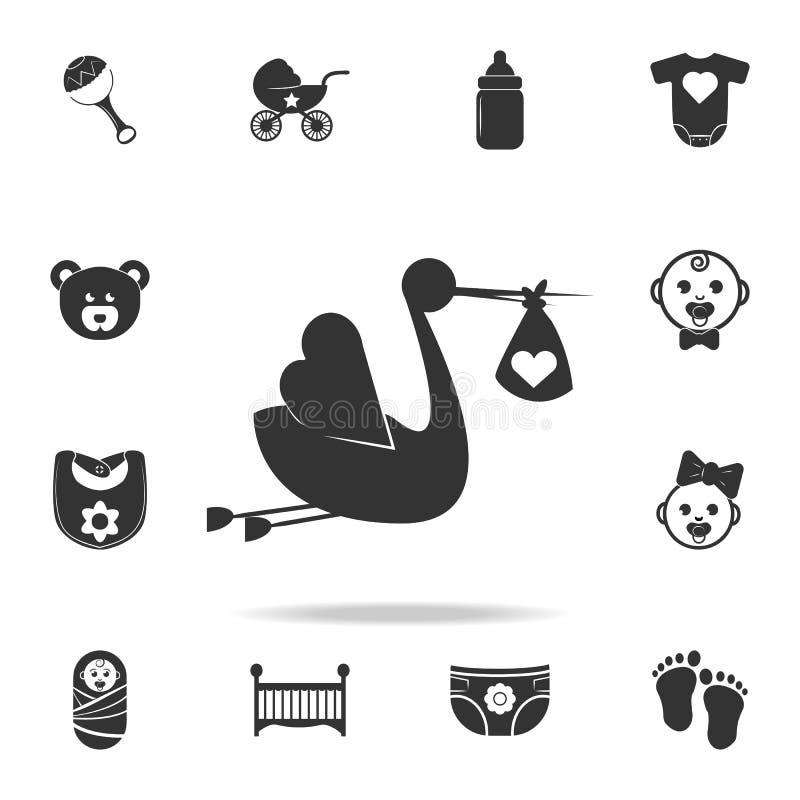 Der Storch holt die Baby Ikone Satz Kinder- und Babyspielwarenikonen Erstklassiges Qualitätsgrafikdesign der Netz-Ikonen Zeichen  lizenzfreie abbildung