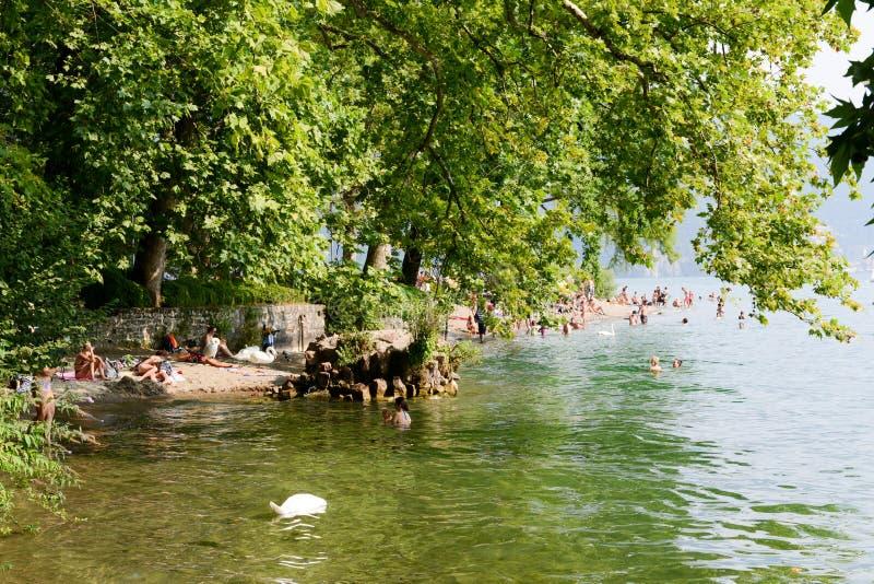 Der Strand botanischen Parks Ciani in Lugano auf der Schweiz lizenzfreies stockfoto