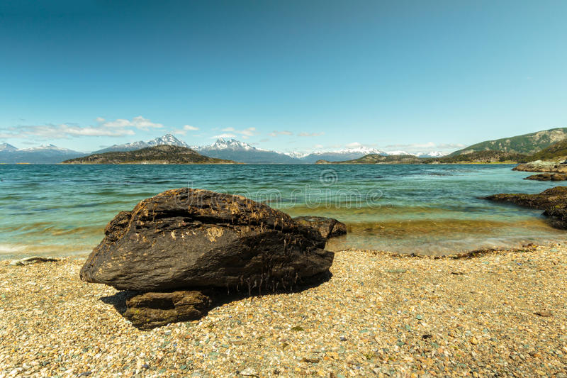 Der Strand des patagonias in Ushuaia, Argentinien stockfoto