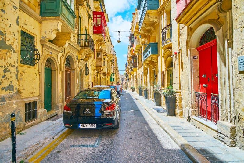 Der Streetscape von Valletta, Malta stockfotos