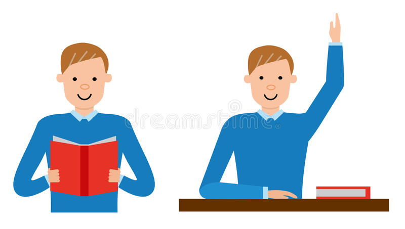 Der Student lernt das Material im Lehrbuch lizenzfreie abbildung