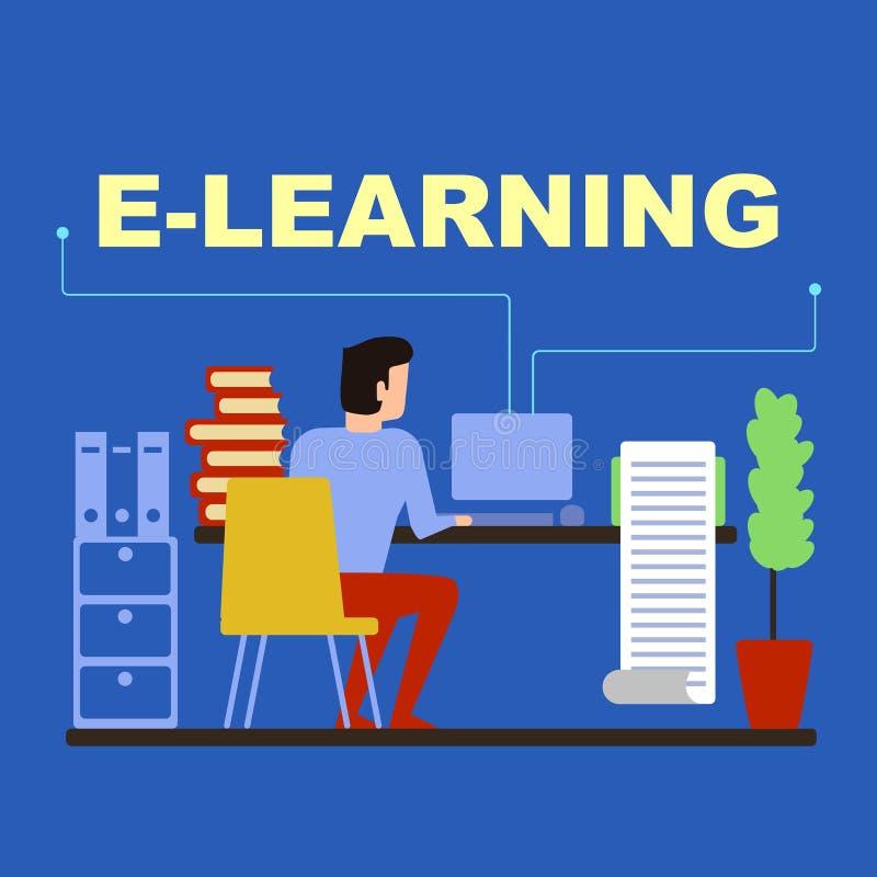 Der Student wird über das Internet entfernt ausgebildet lizenzfreie abbildung