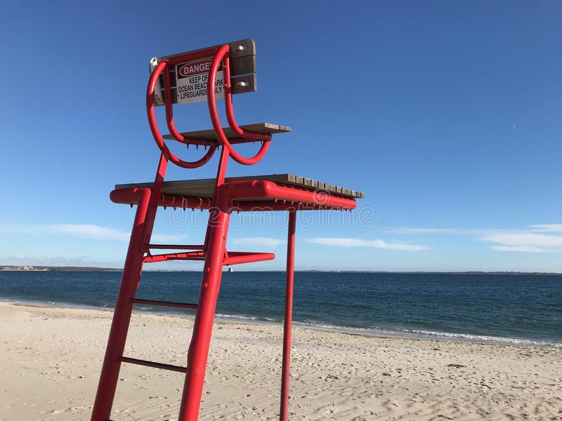 Der Stuhl und die Bedeutung auf dem Strand Neuer Himmel, Connecticut stockfoto