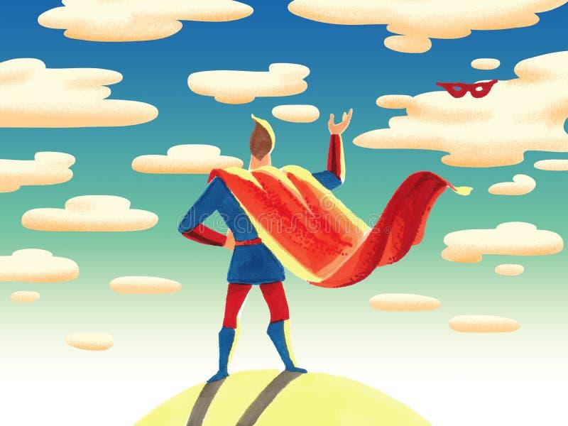 Der Superheld steht mit seiner Rückseite und wirft seine Maske lizenzfreie abbildung