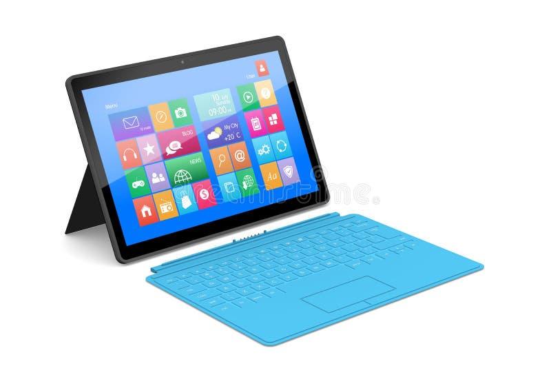 Der Tablette PC mit einer Oberflächentastatur