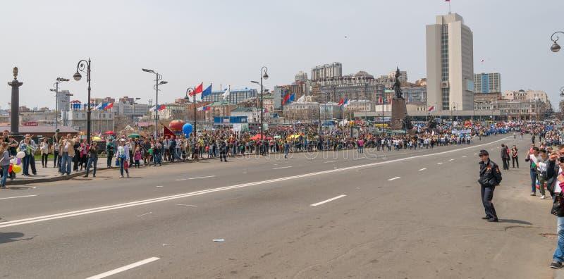 Der Tag der internationalen Arbeitskräfte in Wladiwostok lizenzfreie stockfotografie