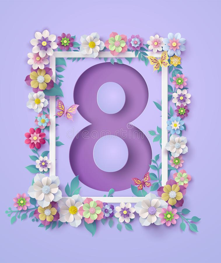 Der Tag der Frauen am 8. März mit Rahmen der Blume lizenzfreie abbildung