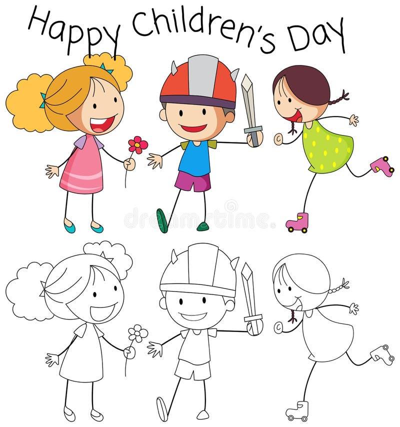 Der Tag der glückliche Kinder des Gekritzels vektor abbildung