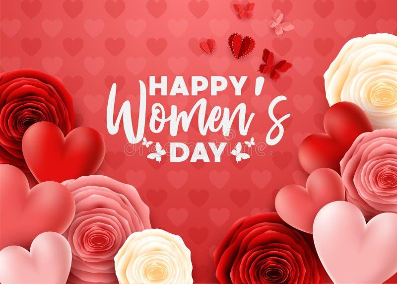 Der Tag der glücklichen internationalen Frauen mit Rosen blühen und Herzhintergrund stock abbildung