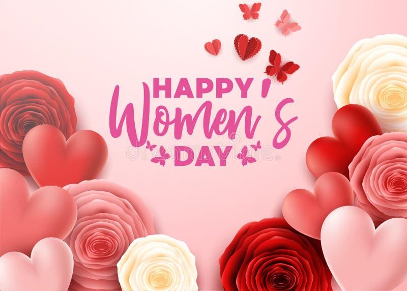 Der Tag der glücklichen internationalen Frauen mit Schmetterling und die Rosen blühen Hintergrund lizenzfreie abbildung