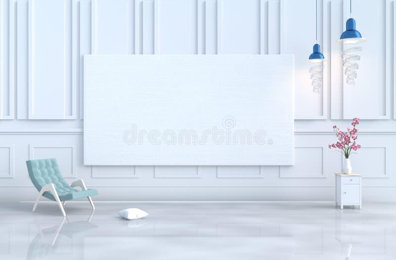 Der Tag und das neue Jahr des Wohnzimmer-Weihnachten 3d übertragen stock abbildung