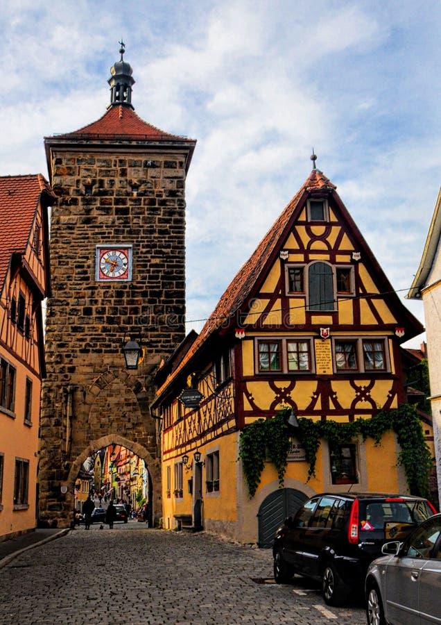 Der Tauber - Baviera - Alemanha do ob de Siebersturm Rothenburg fotografia de stock