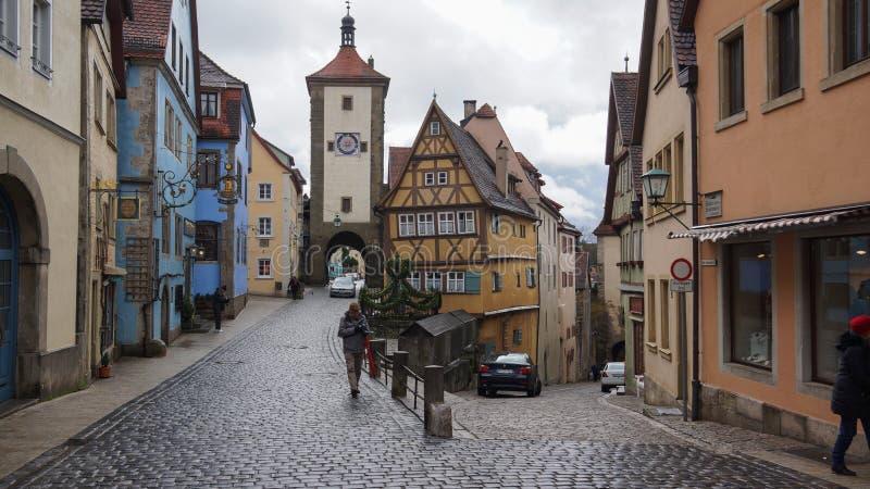 Der Tauber del ob del rothenburg del destino de la calle de Romatic fotografía de archivo