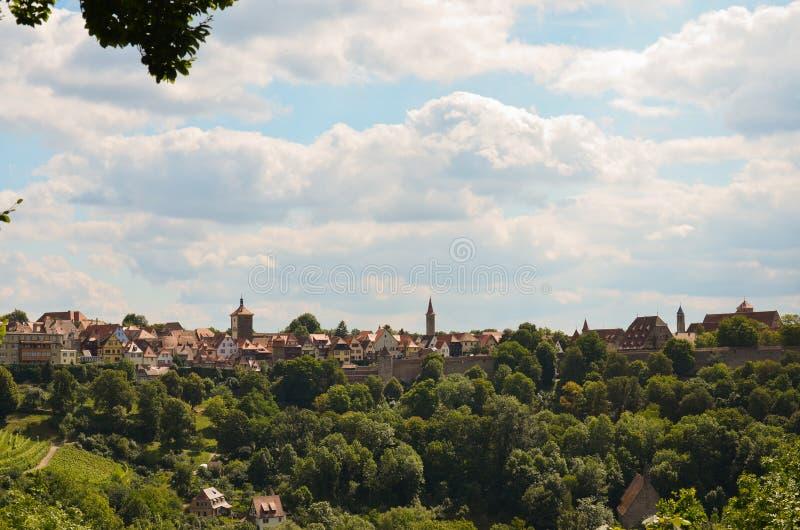 Der Tauber do ob de Rothenburg, 1 panorâmico fotografia de stock royalty free