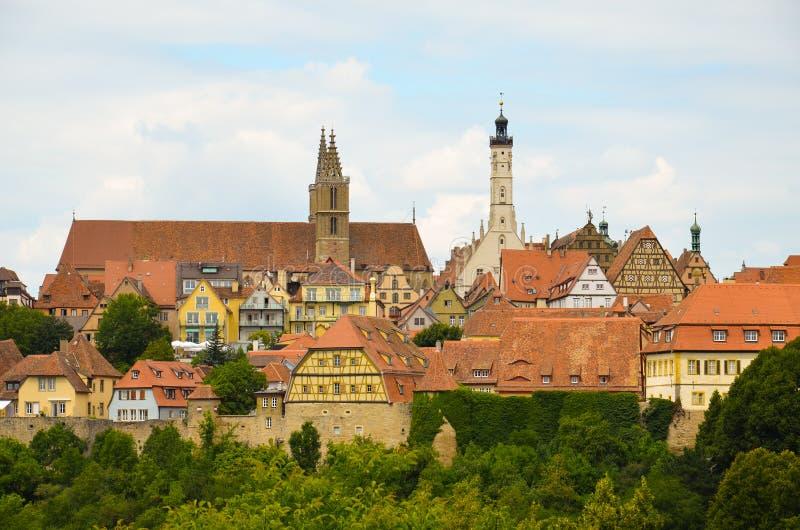 Der Tauber do ob de Rothenburg, vista geral 5 fotografia de stock