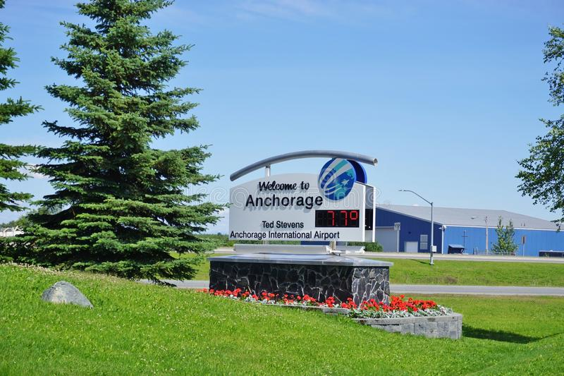 Der Ted Stevens Anchorage International Airport (ANC) in Alaska lizenzfreies stockbild