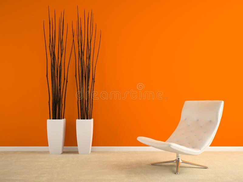 Der Teil des Innenraums mit Lehnsessel und Vasen und die orange Wand 3D zerreißen lizenzfreie stockbilder