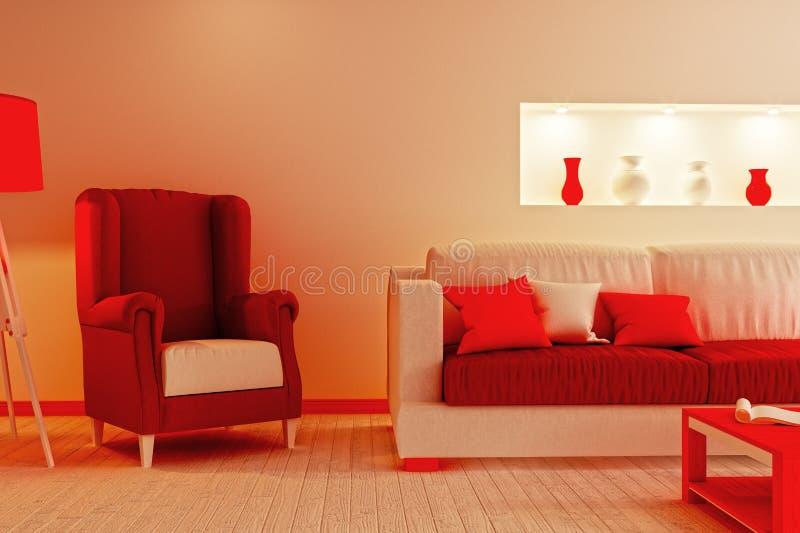 Der Teil des Wohnzimmers in Rotem und im Weiß färbt nachgemachtes Weihnachten stockbilder