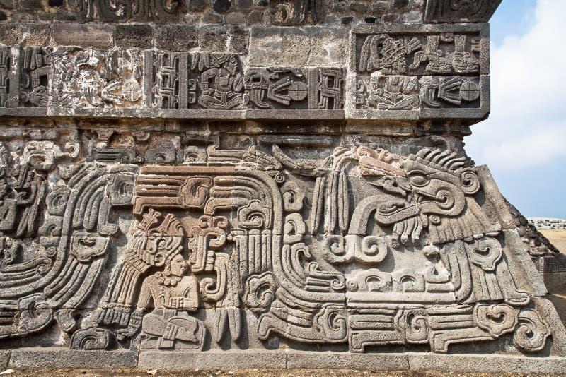 Der Tempel der auf Segelstellung gefahrenen Schlange Xochicalco stockbild