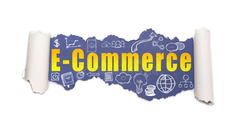 Der Text E-Commerce hinter heftigem Weißbuch lizenzfreie stockbilder