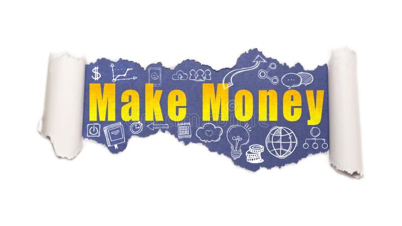 Der Text Geld hinter heftigem Weißbuch verdienen lizenzfreies stockbild