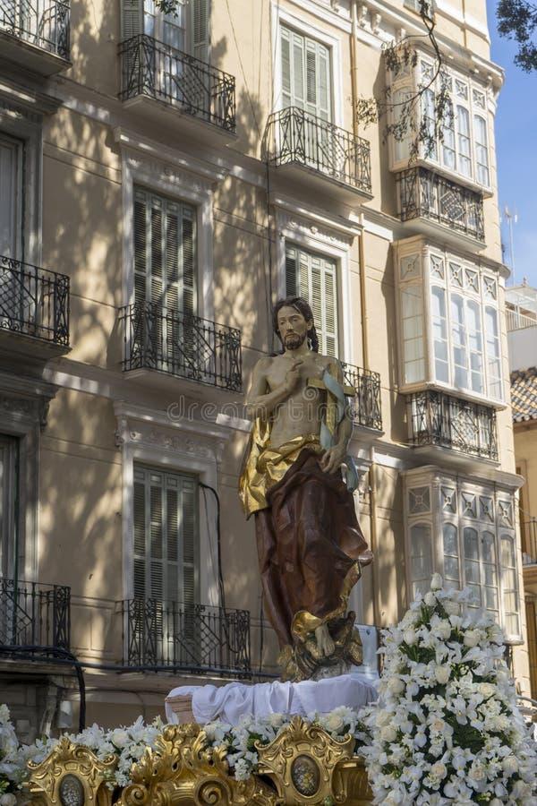 Der Thron von gestiegen von der Karwoche in Màlaga, Andalusien stockbild