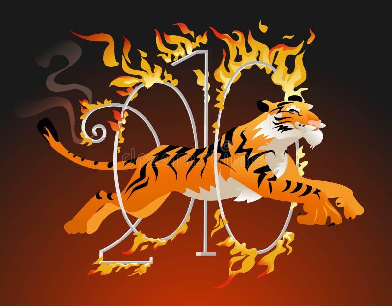 Der Tiger springend durch ein Band des Feuers. lizenzfreie abbildung